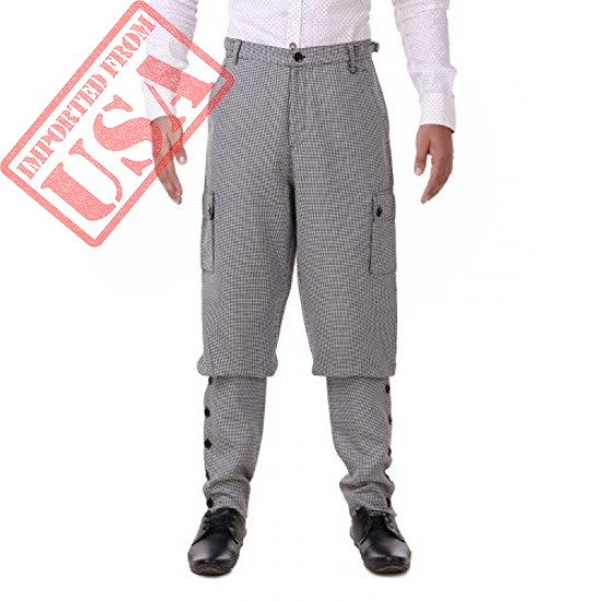 ThePirateDressing Steampunk Victorian Cosplay Costume Mens Airship 100% Cotton Pants Trousers C1348 (Black+ White Check (100% Cotton Fabric)) (X-Large)