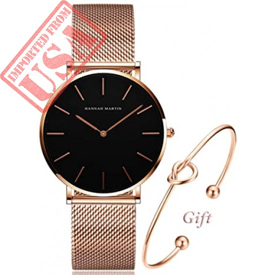 Women's Rose Gold Watch Analog Quartz Stainless Steel Mesh Band Casual Fashion Ladies Wrist Watches with Bracelet Sale in Pakistan