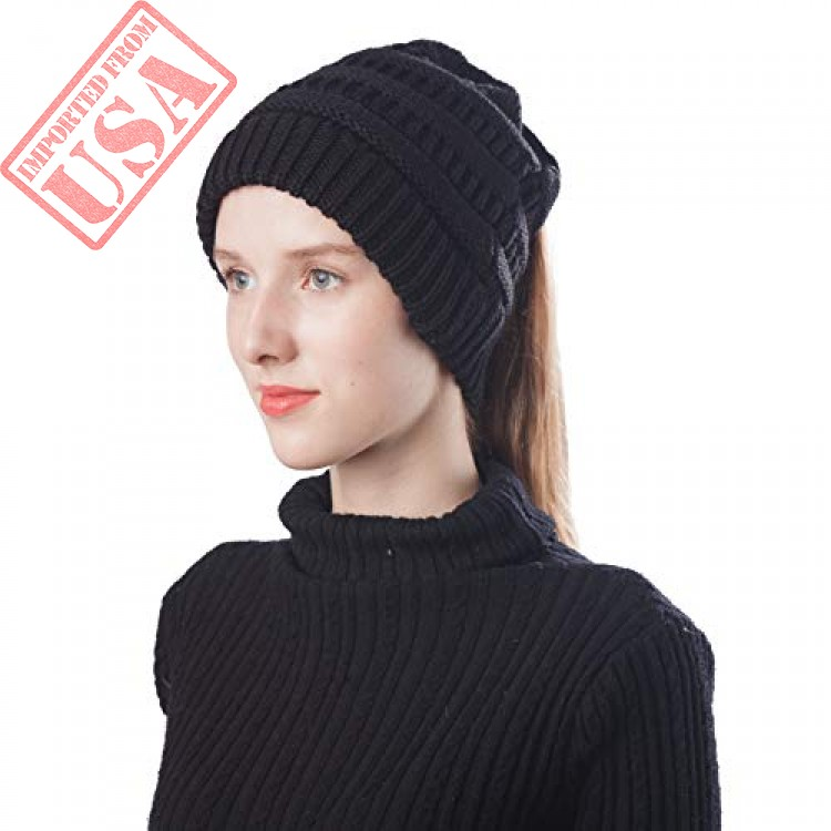 787b302a Scrub Green Women Lightweight Ponytail High Bun Messy Beanie Hat ...