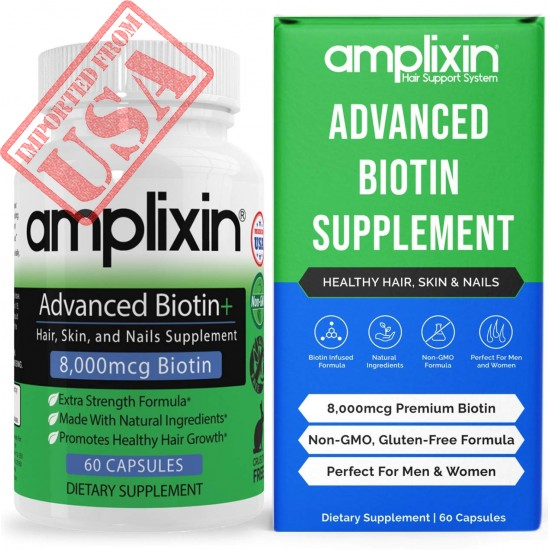 Buy Amplixin Advanced+ Biotin Supplement - Hair Vitamins For Faster Hair Growth, Stronger Nails & Clearer Skin in Pakistan