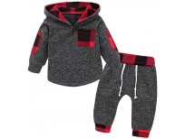 Stylish Plaid Pocket Hoodie and Pants 2Pcs Outfits for Kids Sale in Pakistan