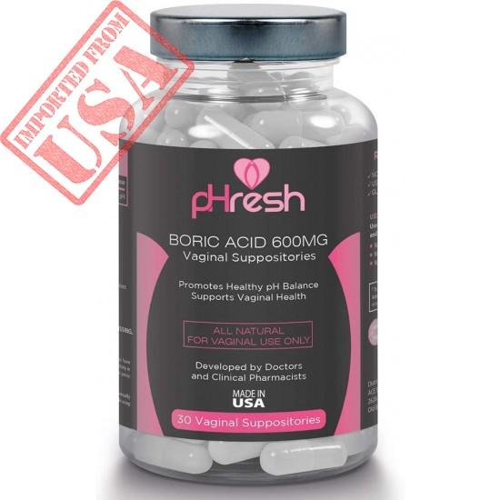 Buy Boric Acid Vaginal Suppositories pHresh - Promotes Healthy Vaginal pH Balance, Supports Vaginal Health - Made in USA