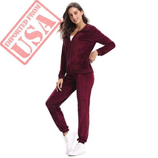 Aibrou Women Velour Tracksuit Zip up Hoodie and Sweat Pant Twinset Fashion Long Sleeve Solid Velvet Pajamas Sleepwear 2 Piece Set
