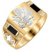 US Jewels Men's Two Tone 14k Yellow and White Gold Simulated Onyx US Army Ring