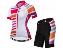 DETAIWIN Women's Short Sleeve Cycling Jersey Gel Padded Shorts Set Road Biking Quick-Dry Reflective Sportswear