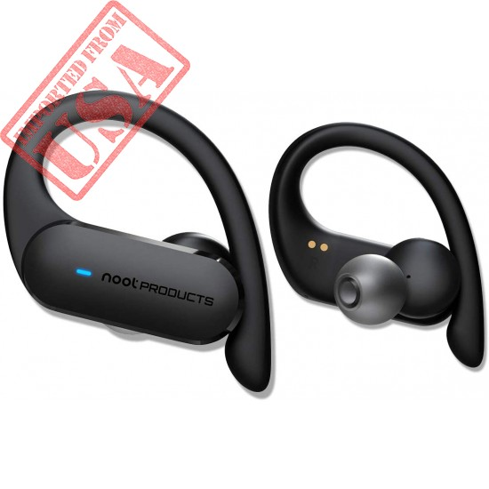 Noot Products NP30T - True Wireless Earbuds with Ear Hooks - Bluetooth 5.0 - Total Battery 27 Hours - Noise Isolation - Microphone - Volume/Touch Control - for Sport, Running, Workout, Voice Calls