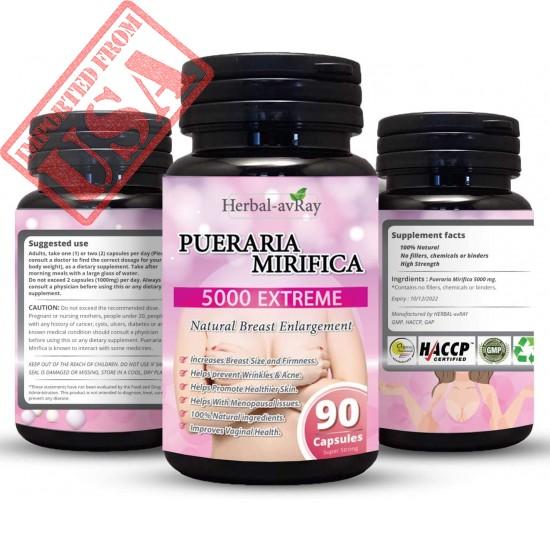 Pueraria Mirifica Capsules 5000mg - Natural Breast Enhancement Pills for Women - Breast Enlargement Pills - Breast Enlarger, Vaginal Health, Menopause Relief, Skin & Hair Health 90 Vegetarian Capsules