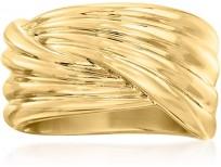 Ross-Simons Italian Andiamo 14kt Yellow Gold Over Resin Crossover Ring
