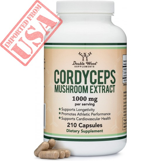 Cordyceps Capsules (Cordyceps Sinensis Mushroom Extract) 210 Count, 3.5 Month Supply, 1,000MG (7% Polysaccharides with Alpha and Beta Glucans) Cardiovascular and Aging Support by Double Wood