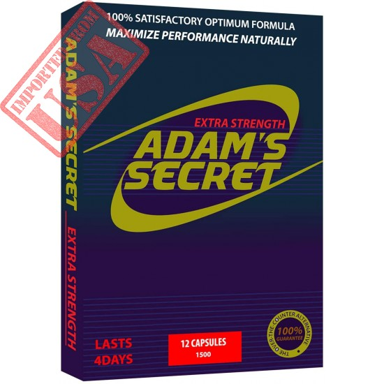Natural Male Pill - ADAM'S SECRET Energy Supplement, Natural Amplifier for Men, Improve Energy and Endurance 12 Pills Per Pack