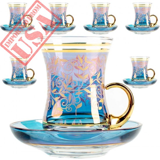 Vintage Turkish Tea Glasses Cups and Saucers Set of 6 with Handle Gold Decors for Serving and Drinking Housewarming Gift for Home 3.45 oz (100 ml) (Art Design1)