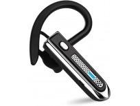 HonShoop Bluetooth Headset, Wireless Bluetooth Earpiece V5.0 Hands-Free Earphones Ultralight Hands Free Business Earphone with Mic for Business/Office/Driving (Black)