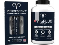 Promescent Delay Spray for Men (2.6ml) + VitaFLUX Triple Power Nitric Oxide Supplement for Male Performance, Lidocaine Spray to Last Longer with Men's Daily Vitamin Packed with Amino Acids for Stamina