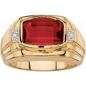 Palm Beach Jewelry Men's 18K Yellow Gold Plated Emerald Cut Created Red Ruby and Diamond Accent Ring