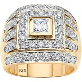 Men's 14K Yellow Gold over Sterling Silver Square Cut Cubic Zirconia Multi Row Ring