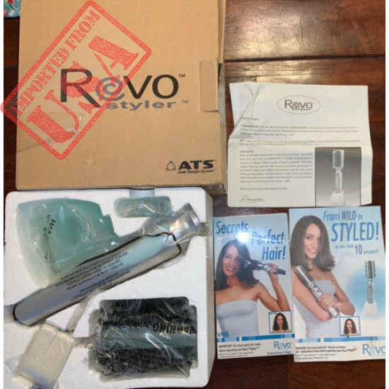 NEW Revo Styler Rotating Cordless Hair Styling Brush With Clips & VHS